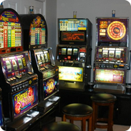 game room with slot machines