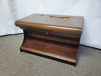 "BULL NOSE SLOT MACHINE STAND - BASE WITH WOOD FOOTREST & WALNUT WOODGRAIN FINISH - 30"" WIDE"
