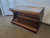 "BULL NOSE SLOT MACHINE STAND - BASE WITH WOOD FOOTREST & WALNUT WOODGRAIN FINISH - 30"" WIDE -"