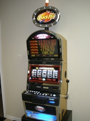 Bally Quick Hit Black & White Jackpot S9000 Slot Machine with Top Bonus Monitor and Lighted Topper