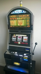 Bally In The Money Three Reel Progressive S9000 Slot Machine with Top Monitor