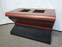 "BULL NOSE SLOT MACHINE STAND - BASE WITH CARPETED FOOTREST & WOODGRAIN FINISH - 32"" WIDE"